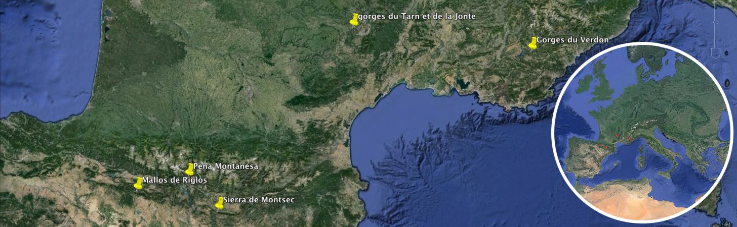 carte stages escalade France et Espagne