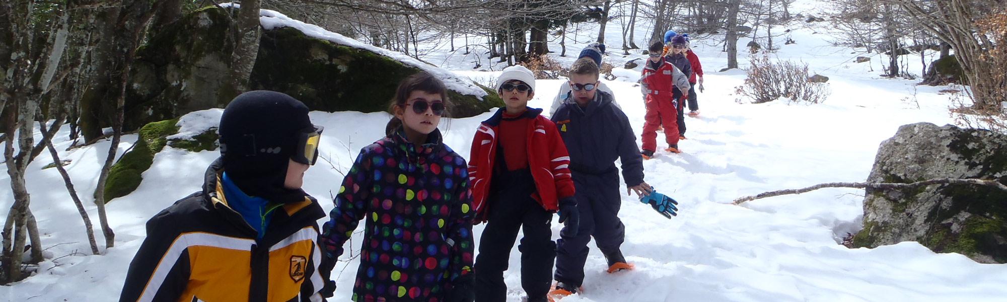 Raquettes a neige enfants - La Mongie - Pyrenees