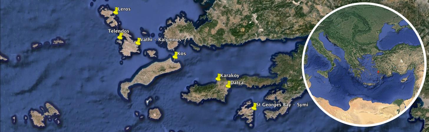 sejour voile et escalade en grandes voies et falaise à Kalymnos, Telendos , Leros, Datca et Symi.